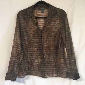 Lafayette 148 100% Silk Animal Print Blouse